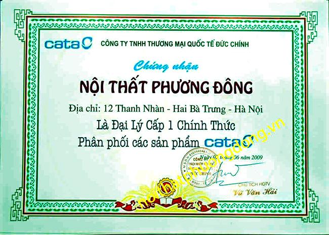 Giấy chứng nhận đại lý cấp 1 của công ty cấp cho Bếp Phương Đông