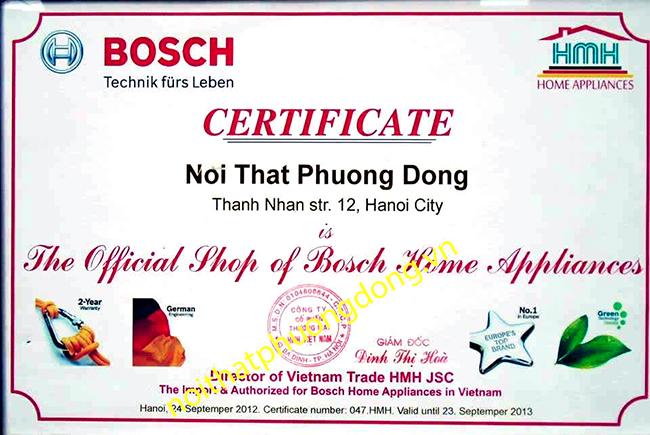 giấy chứng nhận Bosch