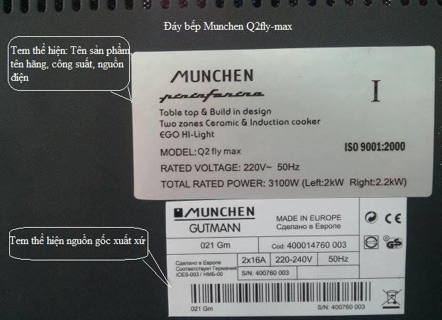 mặt sau bếp điện từ Munchen Q2flymax
